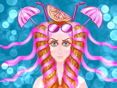 cocktail party artwork art avatar logo girl procreate design illustration party poster party