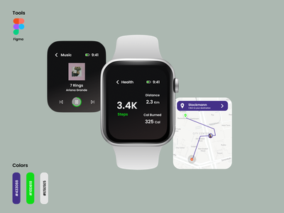 Watch OS | Apple Watch UI branding app ios apple watch aftereffects fitness app healthcare music ux maps watchos watch ui figma ui design