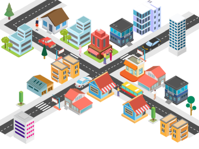 Isometric City Illustration city town isometric design people transport nature buildings isometric illustration branding adobe illustrator design