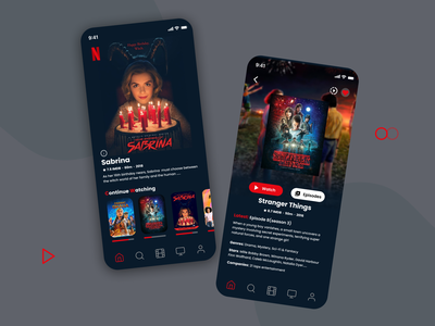 Netflix mobile app design clean tv shows protopie figma stranger things sabrina app minimal design mobile ui movie movie app mobile streaming streaming streaming app dark ui netflix