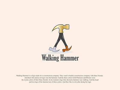 Walking Hammer Creative Minimalist Logo Design constructionlogo walking hammer minimal logo design minimal logo logo maker logo design logo designer logo concept logo design creative logo brand
