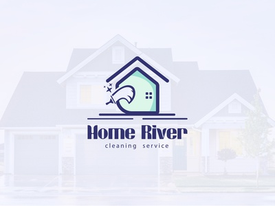 Home River Cleaning service | Creative minimalist logo home river unique logo flat logo minimalist logo logo design logo concept logo design creative logo brand clean home service logo service cleaning cleaning service