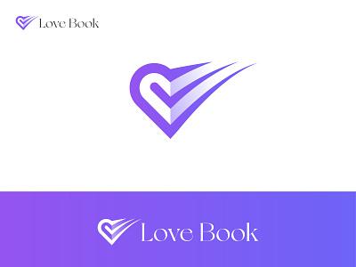 Love Book logo maker logo designer creative logo logo design logo brand design folding logo blue book iconic logo abstract logo colorful logo modern book logo book logo love book