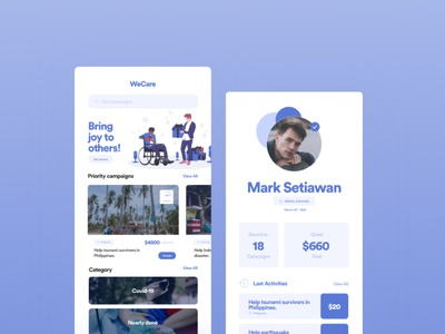 WeCare Charity app design ux ui charity design app