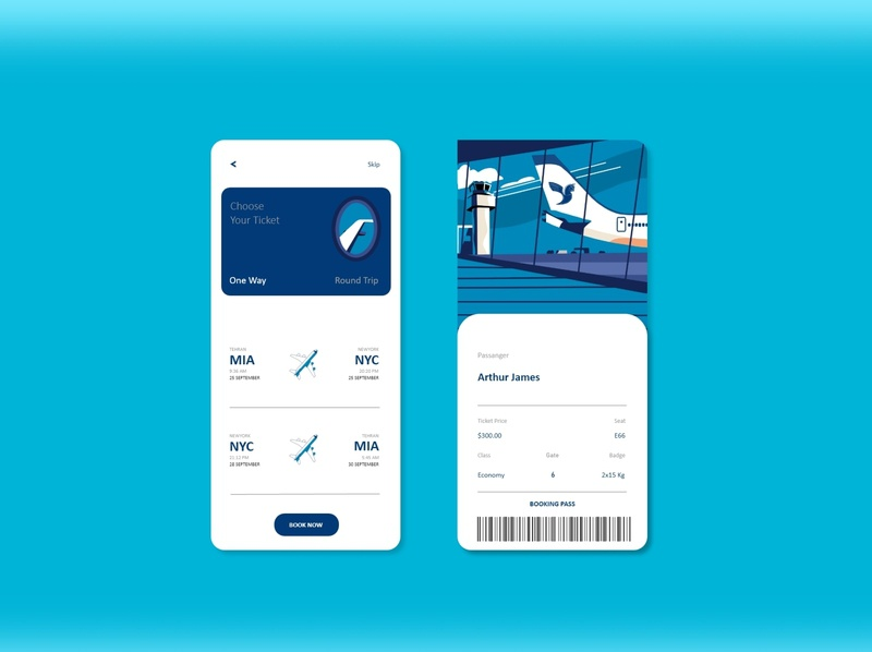 Flight Ticket Booking App ticket app popular design airline logo iran air iran logo illustrator branding web illustration ui app ux airplane boarding app boarding pass airline app aircraft airport airline