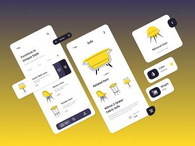 Furniture App designs website typography application app design apparel illustraion shopping furniture task dashboad vector design illustrator branding web illustration ui app ux