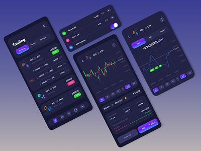 Cryptocurrency iOS app | Dark Version app design illustrator application trading wallet ux ui blockchain ios dark clean interface etherium bitcoin money finance app finance cryptocurrency crypto