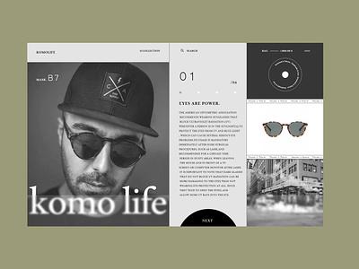 KomoLife. clean web sunglasses fashion brand fashion product minimalism layout ux typogaphy web design ui design graphic design ux design webdesign minimal ui concept colors inspiration