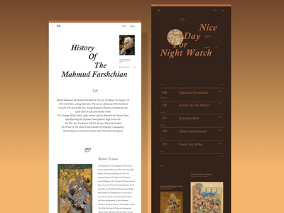 History Of Miniature Painting | Website ux design ux ui illustrator artist art persian biography minimalist minimal home page website web application app design app painting paint miniature history