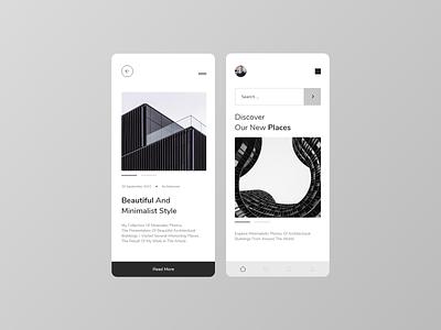 Architecture App simple grey black clean minimal ui design ux design app design vector logo design web branding illustration app illustrator ux ui architecture