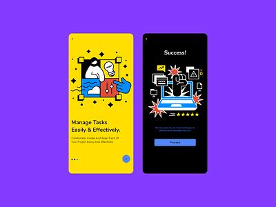 ✅ success / Onboarding top ux design app design yellow clean proceed artwork minimal application mobile vector logo design web branding illustration app illustrator ux ui