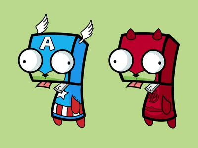 Super Hero Gir illustration cartoon character drawing super hero captain america daredevil comics gir invader zim vector debut