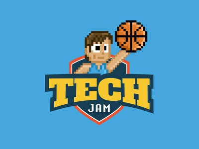 ihTechJam pixel art pixel branding logo basketball tech illustration startup retro game