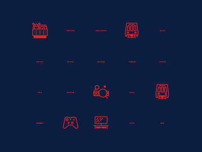 Illustrate Your Day Icons (WIP) skillshare noun icon icons illustration line bed train table tennis game xbox tv