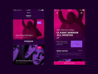 Screen Cinema Movie Listing ui ux cards tiles list newsfeed feed film movie cinema