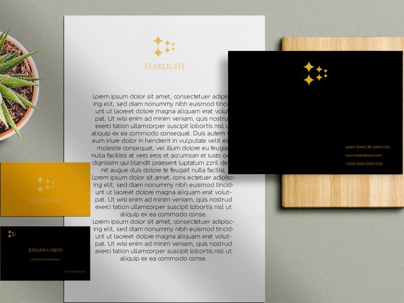 Starlight clotting store mock ups businesscard graphicdesign designer vector typography minimal logo design branding