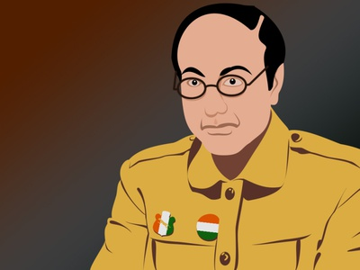 Netaji Subhash Chandra Bose digital painting digital illustration digital art vector illustration