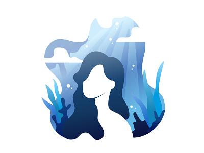 Underwater Lady vector illustration digital painting digital illustration digital art