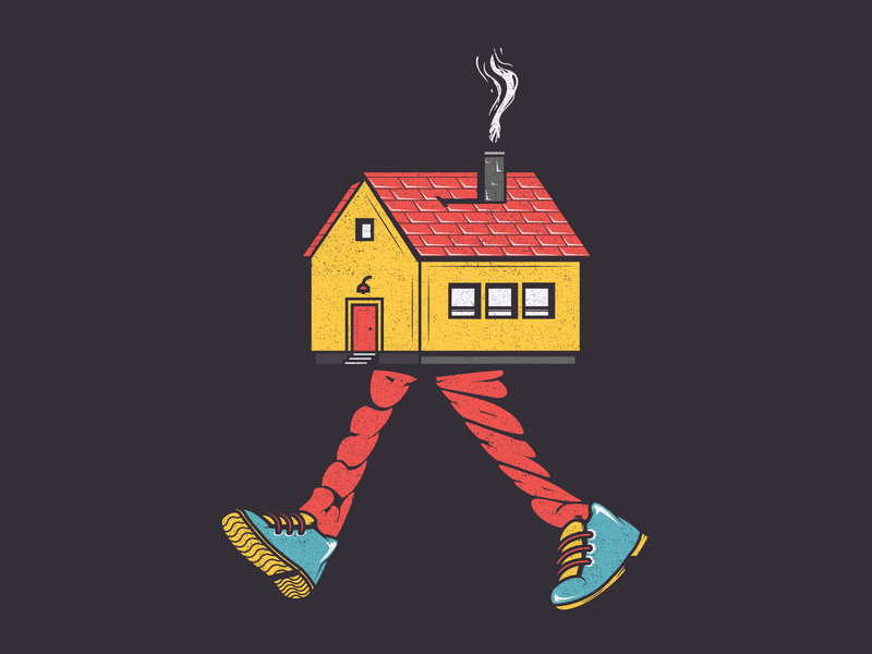 Walking house drawing vector illustration detail graphic  design digital vintage typography type creative color house art adobe abstract