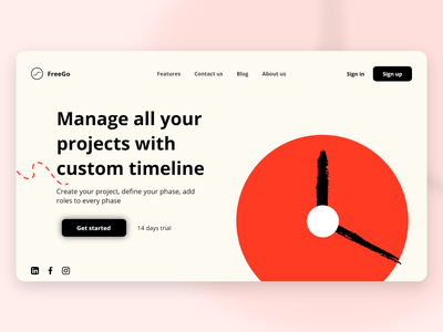 Landing page for project management app landing page landing ux ui
