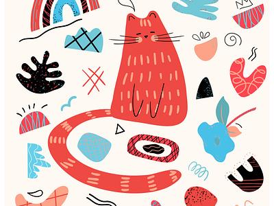 Orange cat childrens illustration animal doodle vector cat illustration
