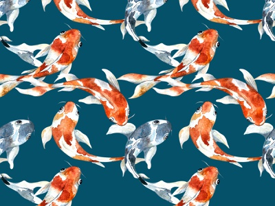 Koi Carp pattern design nature childrens illustration seamless pattern sea pattern illustrator watercolor painting water carp koi fish watercolor design illustration art animal illustrations