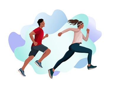 Running training flat design running app runner sport man woman people fitness running run design vector illustrator illustration illustrations