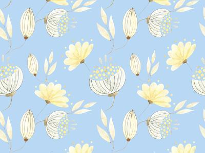 Gold flowers wallpaper pattern design botany watercolor nature pattern illustrator design illustration illustrations