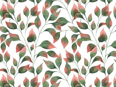 Autumn leaves green life botany nature leaves autumn watercolor illustration pattern illustrator design illustrations