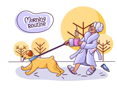 Morning routine good day vector art coffee walk pets animals dog morning routing morning childrens illustration vector art illustrator illustration illustrations