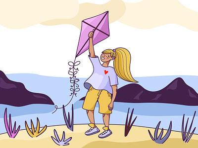 Kite morning girl wind air happiness joy nature kite childrens illustration vector art illustrator design illustration illustrations