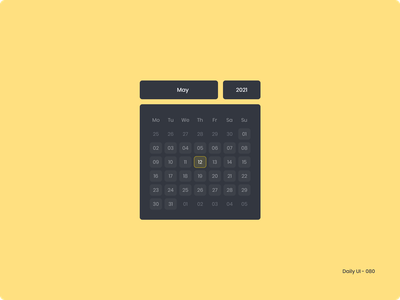 Daily UI 080 - Date Picker calendar date picker 080 dailyui