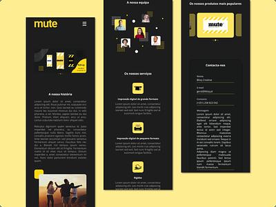 Mute - Digital Production Company landing page digital production mobile dark mode