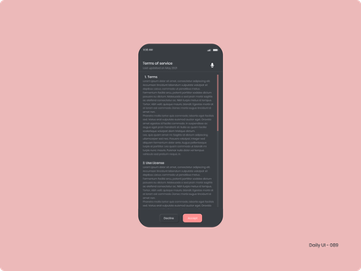 Daily UI 089 - Terms of Service terms of service 089 dailyui