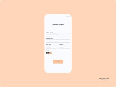 Daily UI 090 - Create New project create new 090 dailyui