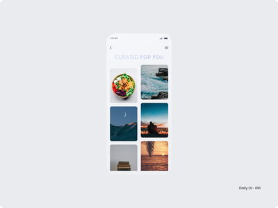 Daily UI 091 - Curated for You beach sunset book love romance moon ocean healthy food food curated for you 091 dailyui