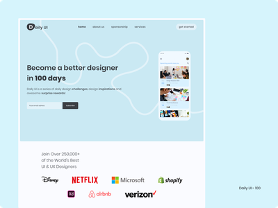 Daily UI 100 - Redesign Daily UI Landing Page 100 days challenge landing page 100 dailyui