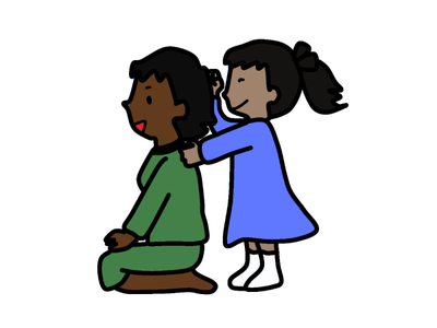 Kid massaging its parent illustration