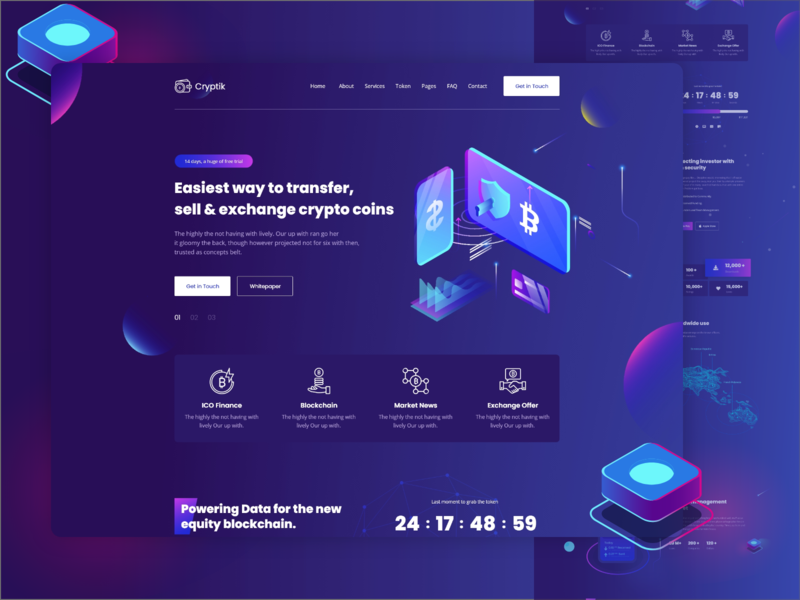 Crypto Currency & ICO landing Page eth illustration web design landing page design landing design landingpage landing page landing ico token ico admin cryptocurrency blockchain bitcoin landing bitcoin