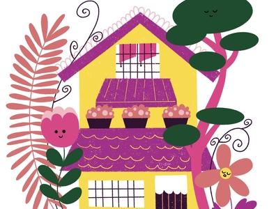 Nice House cute art cute freelance illustrator freelance procreate website illustration vector minimal limited color illustration drawing flat folkart plants flowers stay home home house