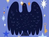 Shiny Things black blue sky stars flat illustration flat color flat design raven crow birds art freelance illustrator website illustration vector minimal limited color flat illustration drawing