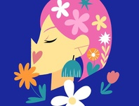 Spring In The Air blue pink lineless website social media women girls bright colors floral flowers character design art icon minimal freelance illustrator website illustration limited color flat illustration drawing