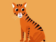 Cute Tiger tiger king cute animals tiger character design freelance illustrator icon vector minimal limited color flat illustration drawing