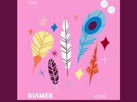 SIAMES Album Cover minimal artwork feathers freelance illustrator illustration flat album artwork limited color album cover design album cover album art