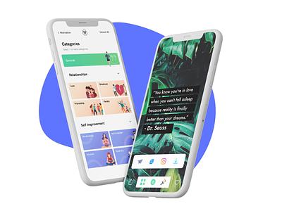 Motivational Quotes App branding web vector ux ui minimal ecommerce design app flat