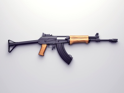 RK-62 aka AK-47 gun ak47 black wood shine isolated metal rk62 assault rifle millitary letal render cg 3d visualisation