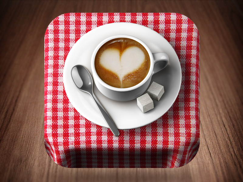 Relax and Enjoy Your Coffee coffee cup cappuccino spoon sugar brown white reflections in cell tablecloth ios icon rounded 3d heart milk foam ceramics