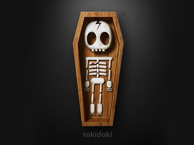 tokidoki 3d logo dark bones wood coffin sarcasm tokidoki volume funny toy