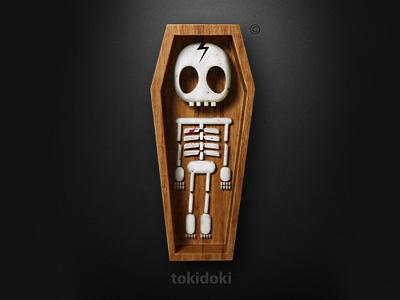 tokidoki 3d logo dark bones wood coffin sarcasm tokidoki volume funny toy