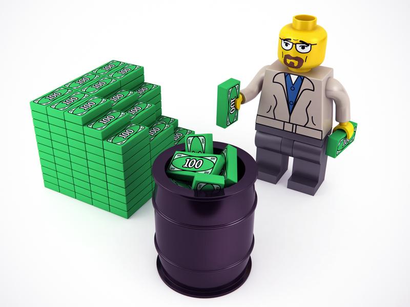 You need more barrels, Mr. White! 3d breaking bad lego minifig heisenberg money plastic constructor brick barrel